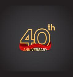 40 anniversary logotype design with line golden vector