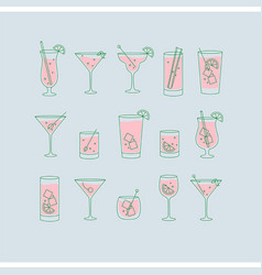 alcohol drinks and cocktails icon flat set blue vector image