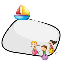 An empty template with kids playing and a ship vector image