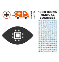Artificial vision icon with 1300 medical business vector