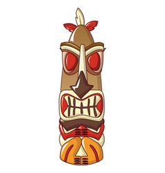 Aztec hawaii idol icon cartoon style vector