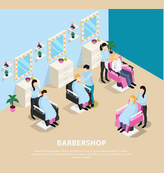 Barber shop isometric composition vector
