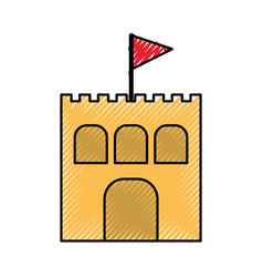 beach sandcastle isolated icon vector image