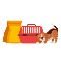 Beagle dog with cage and food bag vector