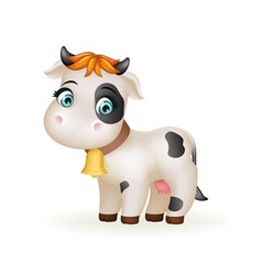 Beautiful little cartoon cute calf white cow vector