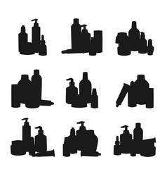 Bottles of cosmetic silhouette cosmetology lotion vector