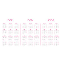 calendar template for 2018 2019 2020 vector image