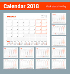 Calendar template for 2018 year set of 12 months vector