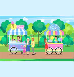 Candy cotton and ice cream sweet food mobile shops vector