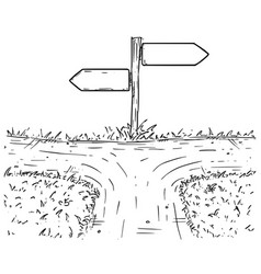 Cartoon crossroad with empty direction sign with vector