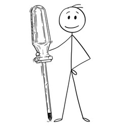 cartoon of man or businessman holding big vector image