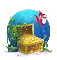 Chest of gold and fish in the sand underwater vector image
