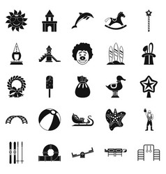 childish icons set simple style vector image
