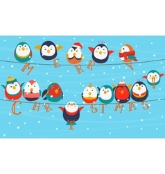 Christmas birds on wires merry words vector