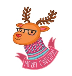 Christmas deer in hipster glasses vector image
