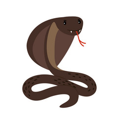 Cobra brown poisonous snake attack position vector