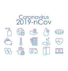 covid19 19 virus gradient line style icon set vector image