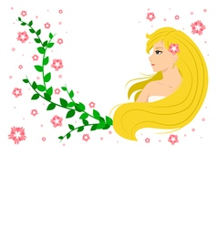 Cute smiling blonde girl with flowers vector