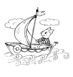 doodle cute pig floating on a boat with vector image