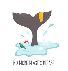 eco poster whale tale and garbage in ocean vector image
