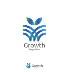 Elegant grow leaf or flower logo icon design vector