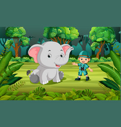 Elephant and adventurer in jungle vector