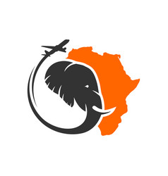 elephant travel logo in africa vector image