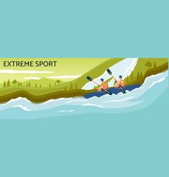 extreme sport banner - cartoon people kayaking in vector image