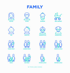 Family thin line icons set vector