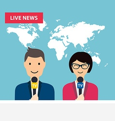 Female and male TV presenters sit at the table vector image