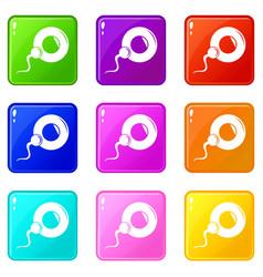 fertilization egg icons set 9 color collection vector image