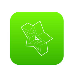 Five pointed star icon green vector