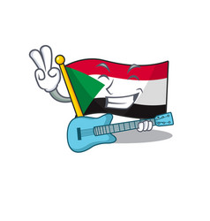 Flag sudan character in cartoon shape with guitar vector