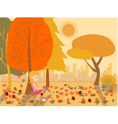 flat drawing cute girl sleeping under a tree in vector image