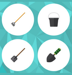 Flat icon farm set of pail trowel shovel and vector