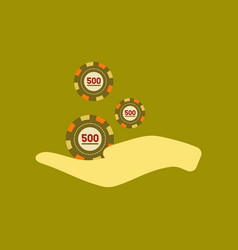 flat icon on stylish background casino chips in vector image