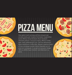 Flat style pizza card menu vector