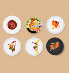 Food set menu with meat and sauce vector