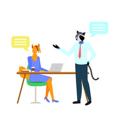fox and raccoon hipster animal workplace vector image