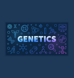 Genetics colorful outline banner on dark vector