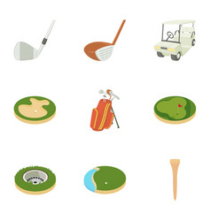 Golf things icons set cartoon style vector