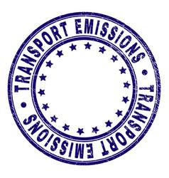 Grunge textured transport emissions round stamp vector