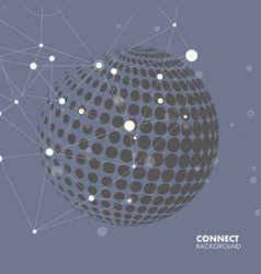 halftone circle witn molecule connect vector image