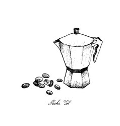 Hand drawn of moka pot with coffee beans vector