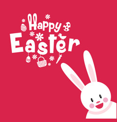 Happy easter typography cartoon charactor vector