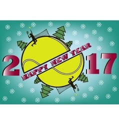 happy new year 2017 and tennis ball vector image
