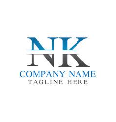 initial monogram letter nk logo design template vector image