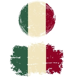 Italian round and square grunge flags vector