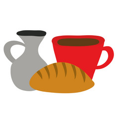 Jar canteen with cup beverage and bread vector