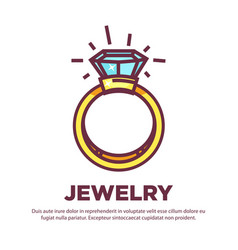 Jewelry golden diamond wedding ring flat vector